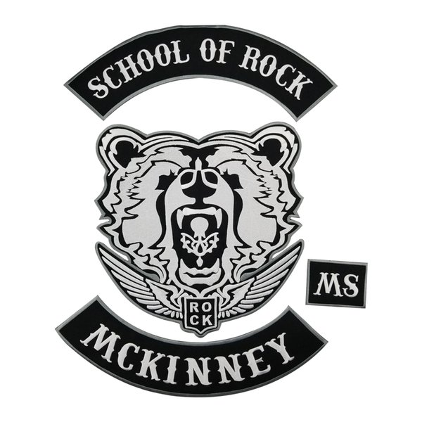 SCHOOL OF ROCK MCKINNEY Rock Patch Punk MC Embroidered Full Back Large Applique For Rocker Biker Vest Patches for clothing Free Shipping