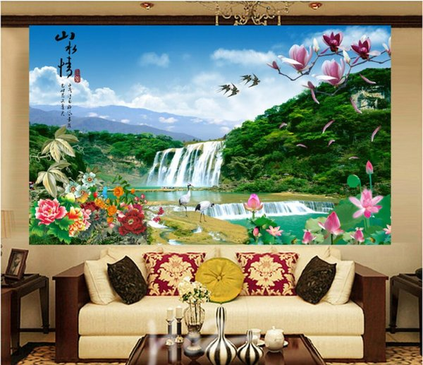 3d wallpaper custom photo Zhongtang painting, water and wealth, frameless painting, interior decoration murals wallpaper for walls 3 d