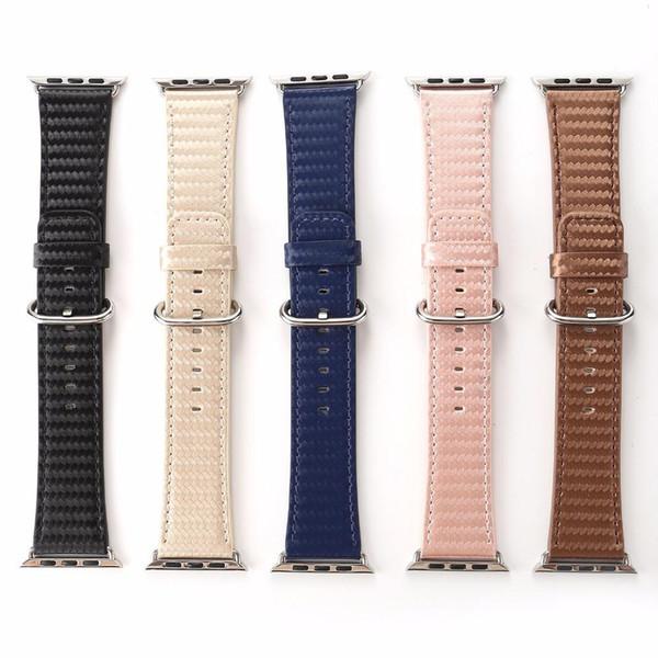 Fibre de carbone Impressions en cuir PU bande de montre bracelet pour 38 / 42mm d'Apple Black Watch Bleu Brun Rose Bracelet Ceinture bracelet I221.