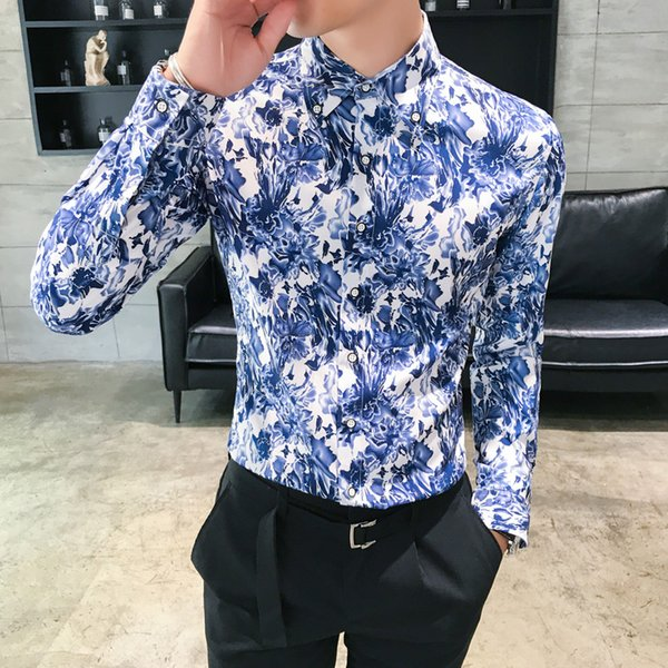 2018 Frühling Herbst Features Shirts Männer Floral Party Kleid Club Shirt Neue Ankunft Langarm Casual Slim Fit Männer Shirts