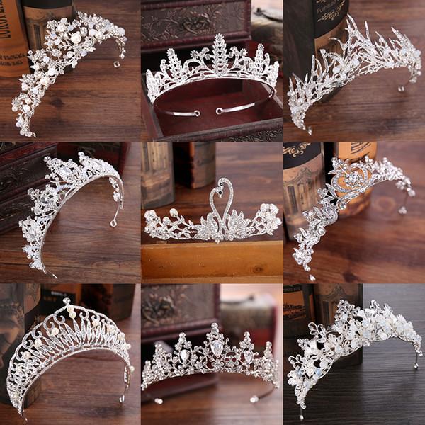 Çeşitli Gümüş Kristal Gelin tiara Taç Moda Inci Kraliçe Düğün Taç Başlığı Düğün Saç Takı Aksesuarları