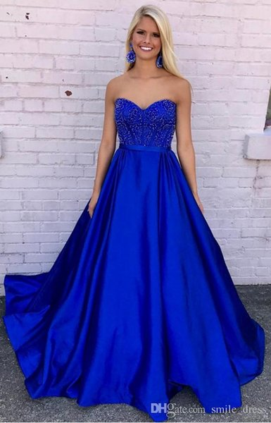 Royal Blue Ball Gown Prom Dresses Sweetheart Beaded With Sash Formal Dress Prom Party Evening Gowns