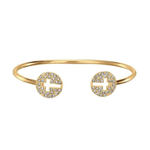 Gold Plated Crystal Cross Cuff Bangle with Inverted for women Silver Rose Gold hollow out double T open bracelet Fine jewelry