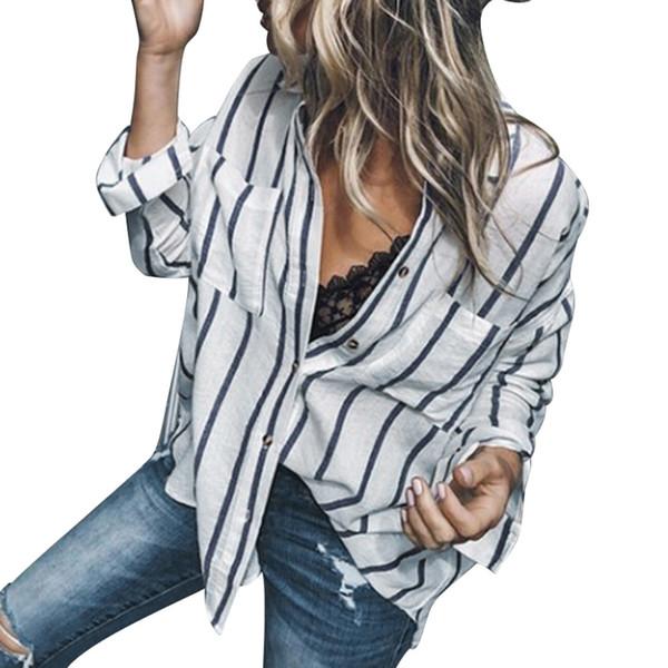 Bayan Tops ve Bluzlar 2018 Zarif Çizgili Cepler Uzun Kollu Gömlek Kore Moda Giyim Tunik Bayanlar Üst Feminina