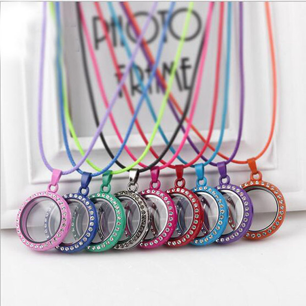 best selling 5pcs 30mm*30mm*7mm Mixed Color Enamel Floating glass Lockets White Rhinestone Round Living Memory Locket Fit Floating Charms