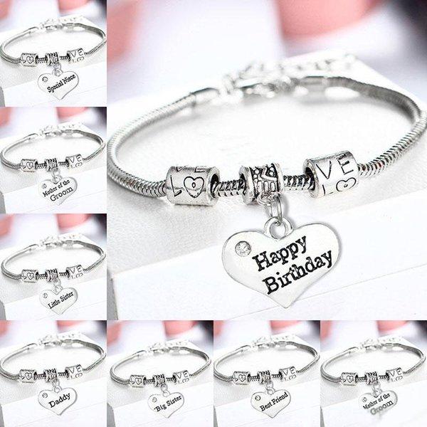 Acheter Cristal Coeur Bracelets Famille Papa Maman Nana Soeur Meilleurs Amis Mariée Joyeux Anniversaire Charmes Bracelet Bracelet Femmes Bijoux Cadeau