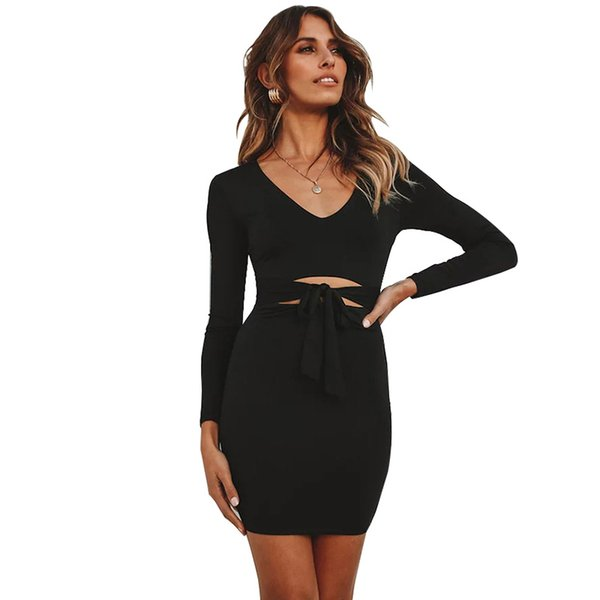 2019 Autumn Fashion Sexy Dress Women Cut Out Waist Pencil Dress V Neck Long Sleeves Tied Front Solid Bodycon Casual Black Dress
