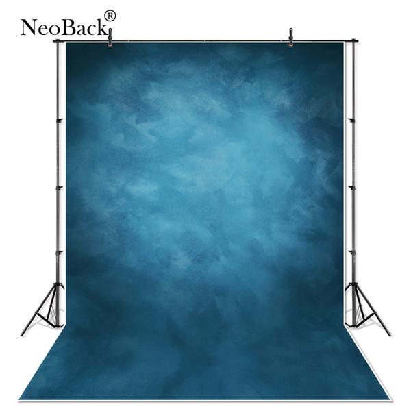 NeoBack 5X7 Vinil Kumaş Fotoğraf Backdrop Kırmızı Arka Plan Stüdyo Misty Mavi Portre Fotoğraf Backdrop Düğün P1410