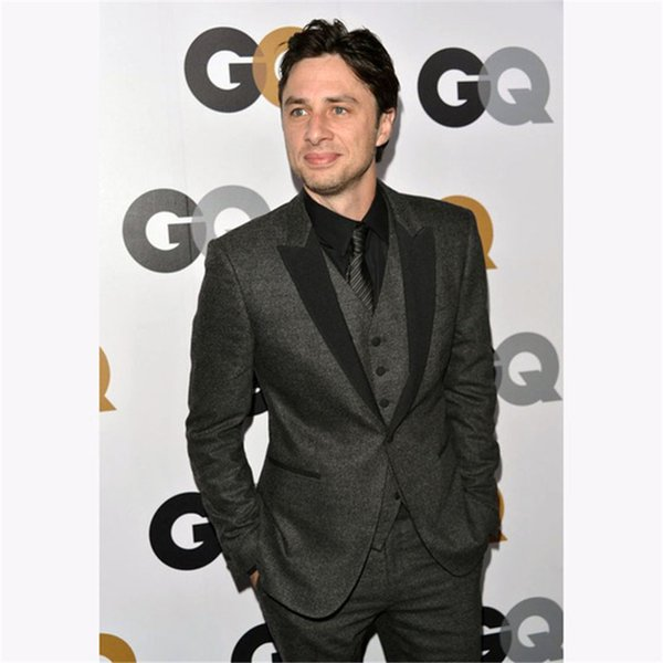 2019 Latest Coat Grey Black Tweed Men wedding suits Skinny Prom Blazer terno slim fit Masculino Tuxedo Custom 3 Pieces mens suit