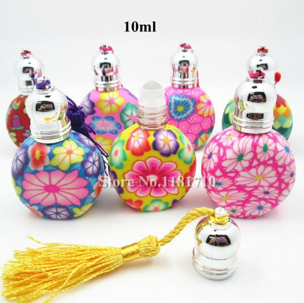 Gros rouleau de 10 ml sur des bouteilles de parfum en argile de polymère vide parfum bouteille rechargeable 100pcs / lot