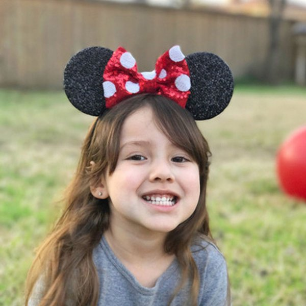 HOT Girl Cute Black Mouse Ears Hairband With Sequin Hair Bow Kids Bling Glitter Hair Bands Holiday Hair Accessories For Children 12PCS