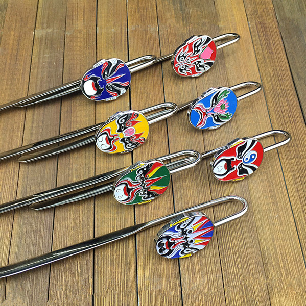 best selling Vintage Chinese Opera Metal Bookmark clip Creative Zinc Alloy Business Gift Bookmarks with Gift Box