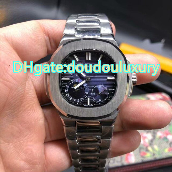 Silver stainless steel men wristwatch blue large dial three sub dial work automatic mechanical watches sports waterproof watch