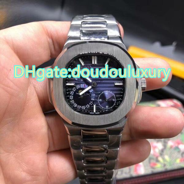 Argent hommes en acier inoxydable montre-bracelet bleu grand cadran trois sous-cadran travail montres mécaniques automatiques sport montre étanche