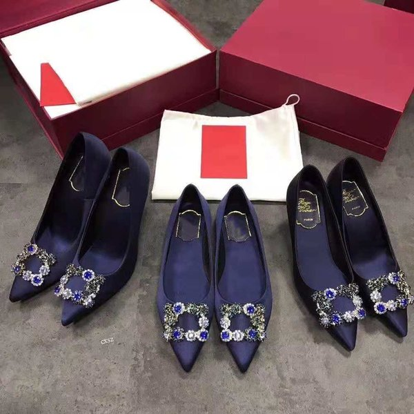 Ladies dress shoes, new autumn high-grade silk rhinestone button shoes, fashionable elegant high heel pointed shoes