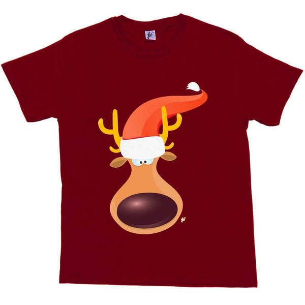 Big Nose Reindeer Face & Antlers Wears Santa Hat Christmas Mens T-Shirt