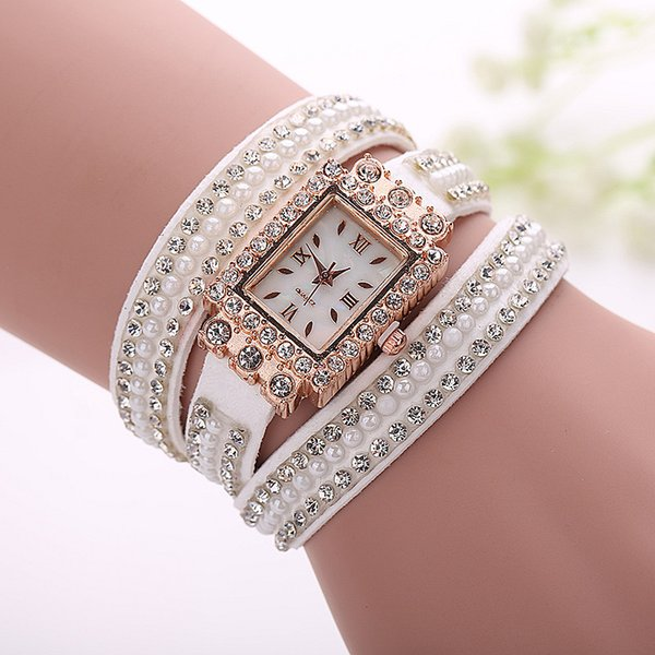 Fashion Korean Style Women Strap Bracelet Watches Rhinestone Velvet Band Ladies Quartz Wristwatches