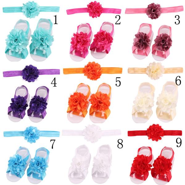 10 Pcs / set 3 ensembles / lot Dentelle Bébé Bandeaux Pied Fleur Bracelet Infantile Filles Cheveux Ornements Fleur Filles Enfants Cheveux Accessoires H077