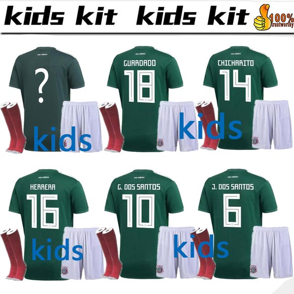 2018 World Cup Mexico Kids kit+socks Soccer Jersey National Team CHICHARITO GUARDADO HERRERA 18/19 G . DOS SANTOS Football shirt