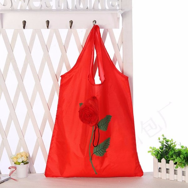 Portable Shopping Tote Foldable Rose Shape Handbag Reusable Shopping Bags Eco Foldable Large Capacity Female Supermarket Bag