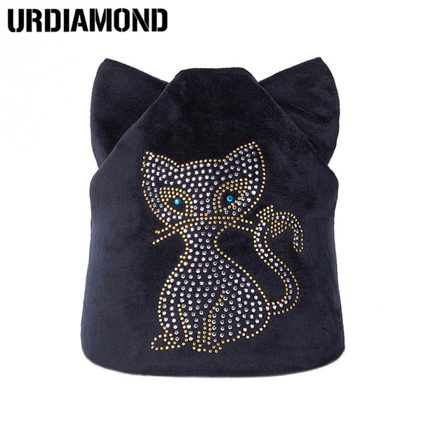 UDIAMOND Winter Cat Beanie Hat Ladies Knit Hats For Women Beanies Caps Pearls Cat Diamond Beanie Knitted Cap With Ear Flaps