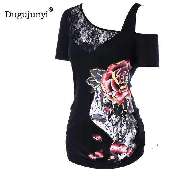 Fat mm summer women tops plus size XXL3D floral printing sexy t shirt women lace patchwork off shoulder tshirt