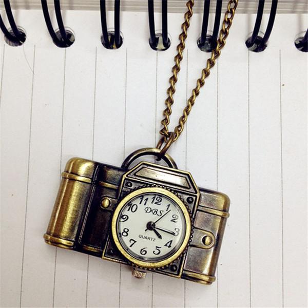 2018 Unisex Antique Bronze Camera Design Pocket Watch Men Women Vintage Hand Wind Clocks Necklace Pocket & Fob Watch With Chain
