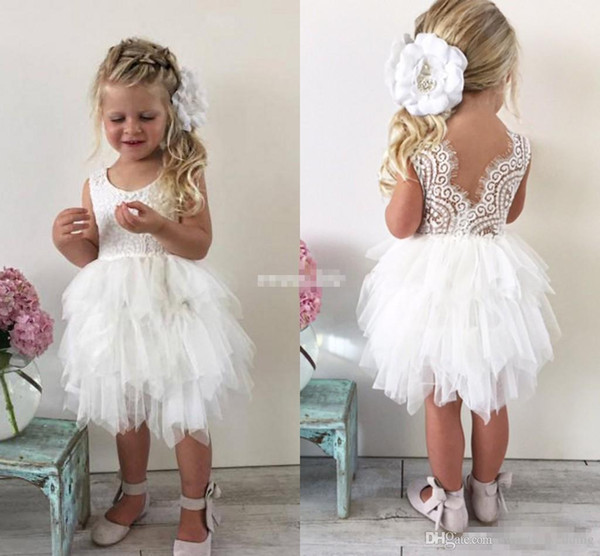 Cute Boho Wedding Flower Girl Dresses for Toddler Infant Baby White Lace Ruffles Tulle Jewel Neck 2017 Cheap Little Child Formal Party Dress