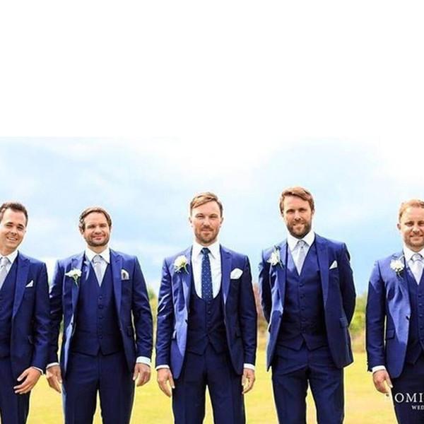 Navy blue men's slim suit three-piece suit (coat + pants + vest) wedding groom best man dress ball formal suit dress men's single button la