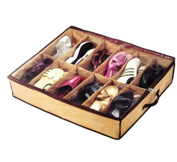 12 Pairs Bez Kumaş Ayakkabı Depolama Organizatör Tutucu Ayakkabı Organizatör Kutuları Dolap 67 * 56 * 15 cm Ev Için Kullanabilir Hottel mens kadınlar nt