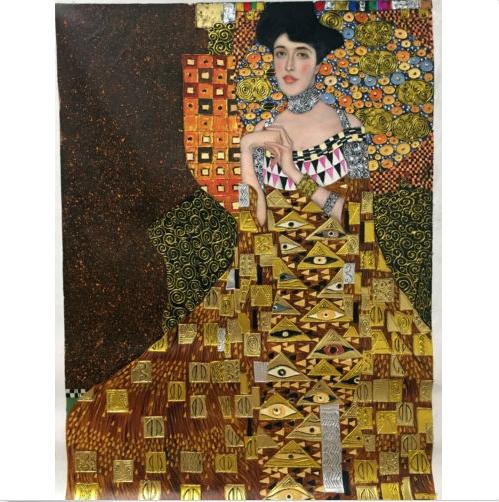 Gustav Klimt of Adele Bloch-Bauer I gold Handpainted & HD Print Classical Portrait Art Oil Painting On Thick Canvas Multiple Sizes p17