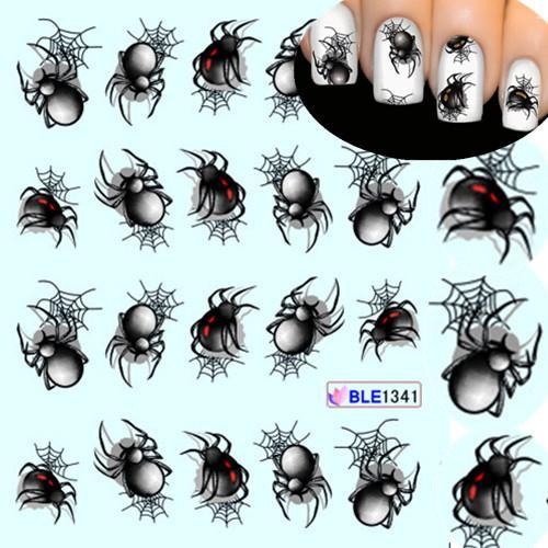 1 Sayfalık Cadılar Bayramı stil Örümcek Su Transferi Nail Art Etiketler Manikür Dekorasyon Çivi Sarar Çıkartmaları Styling Araçları SABLE1341