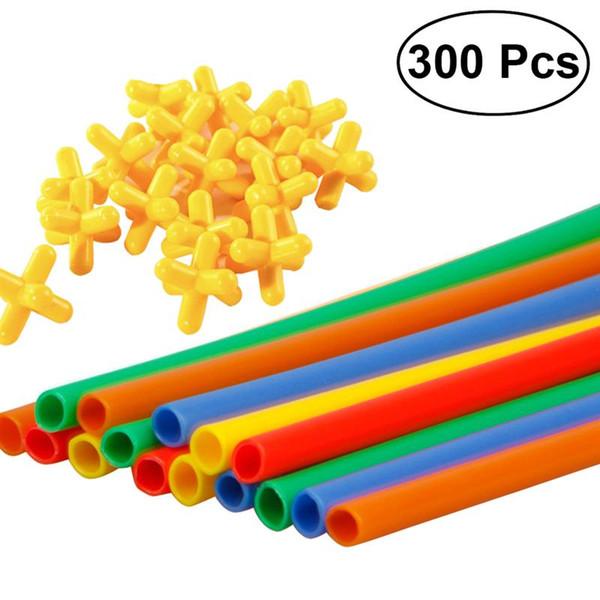 300pcs Straw Constructor Interlocking Enginnering Toys Cannucce e connettori Set Giocattoli educativi per bambini