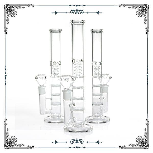 12 inch straight tube glass water pipes bong triple honeycomb perc 4 showerhead percolator bongs clear smoking pipes hookah water bong