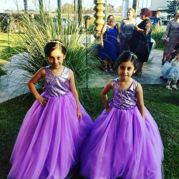 Roxo Vestido de Baile Pequenas Meninas Vestidos para o Casamento Jóia de Pescoço De Lantejoulas Cinta Cruz Laço Kid Comunhão Santamente vestido de Tule Vestido de Batismo