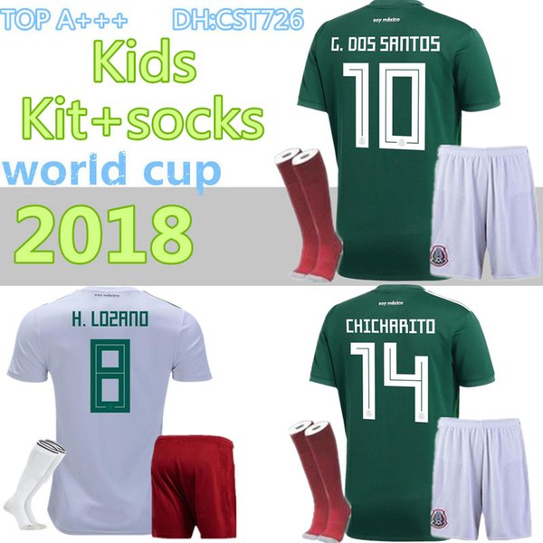 3cd1f417a9105 2018 World Cup Soccer jersey kids Kits+socks Mexico home green CHICHARITO  FABIAN G DOS