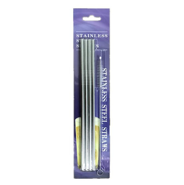 1set=4pcs Drinking Straw +1pcs Cleaning Brush Blister Pack Stainless Steel 215mm Length for Bar Xmas Party 6mm SN1562
