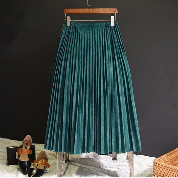 2018 Yeni Moda Sonbahar Kadın Süet Etek Pembe Beyaz Uzun Pileli Etekler Bayan Saias Midi Faldas Vintage Kadınlar Midi Etek S916