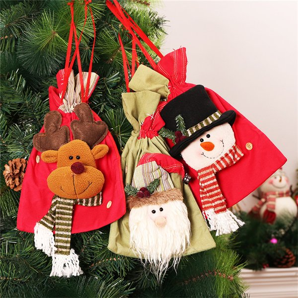3pcs Santa Claus+Snowman+Elk Storage Bag Christmas Gift Bags Christmas Gift Holders Xmas Tree Hanging Ornaments Candy Organizer
