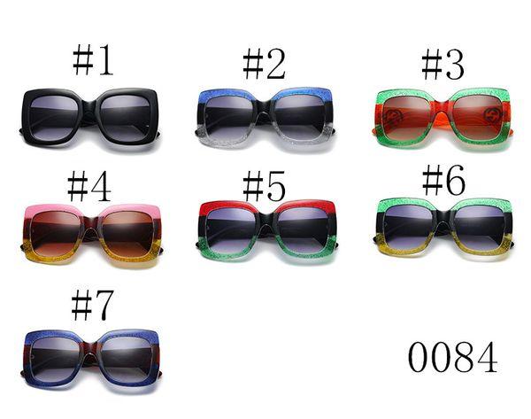 SıCAK 0084 moda kadın güneş gözlüğü 7 renkler çerçeve parlak kristal tasarım kare büyük çerçeve sıcak lady tasarım UV400 lens Kalite A + + + ADEDI = 10
