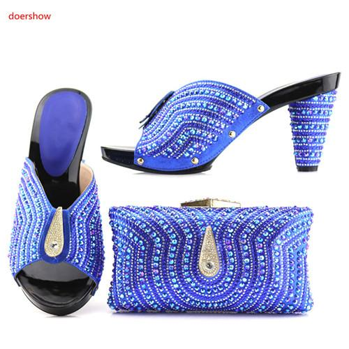 African Women Italian Shoes and Bag Set Decorated with Rhinestone Ladies Wedding Matching Shoe and Bags KU1-9