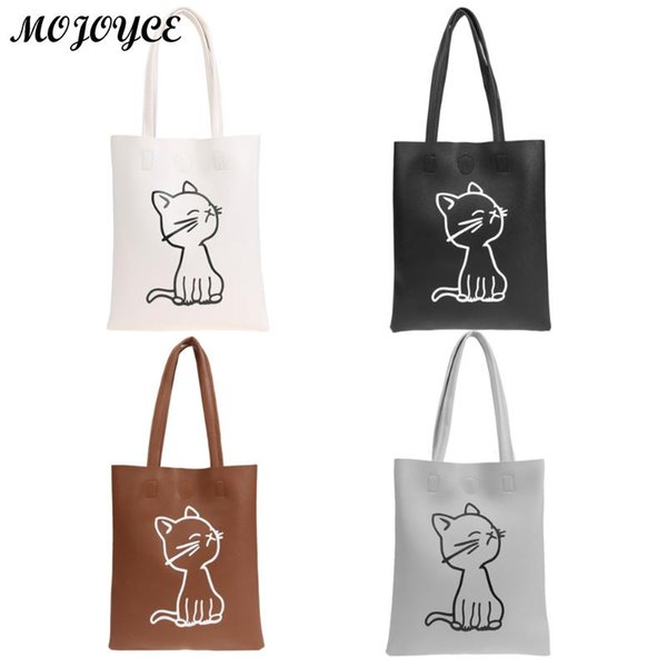 PU Leather Hangbag Women Lovely Cat Pattern Shoulder Bags Black White Women Shopping Bags Daily Use Female Tote Bag Fashion