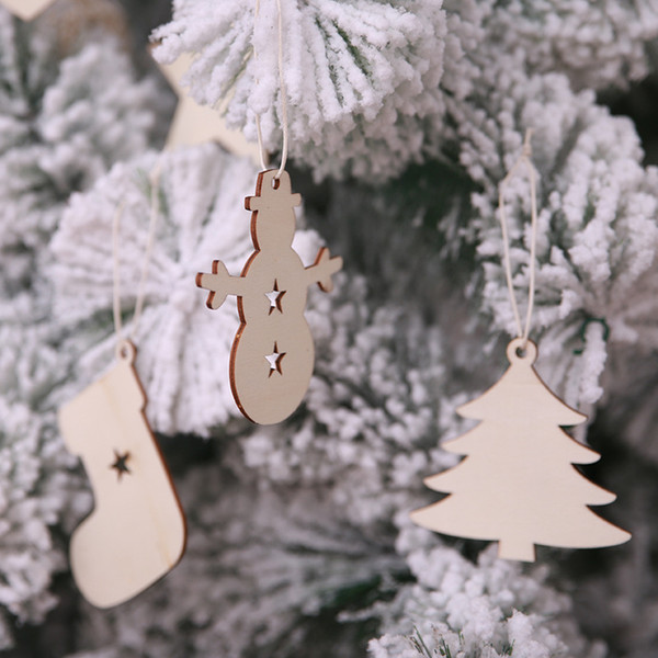 10pcs/set Christmas Wood Chip Tree Ornaments Xmas Hanging Pendant Party Wedding Birthday Decoration Board Game Arts Crafts Gifts