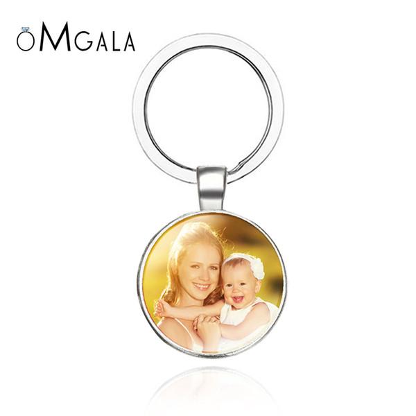 OMGALA personalisiertes Foto keychain Kundenspezifisches Schlüsselkette-Foto Ihres Baby-Kindermutter-Vati-Großvaters liebte ein Geschenk für Familien-Geschenk