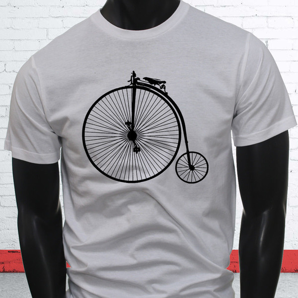 Fast Big Bike Tricycle Unique Brakes 1800s High Wheel Bicycle Mens White T-Shirt