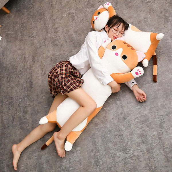 1pc 65/90cm long Cat Pillow Plush toy soft cushion stuffed animal doll sleep Sofa Bedroom Decor Kawaii Lovely gifts for kids