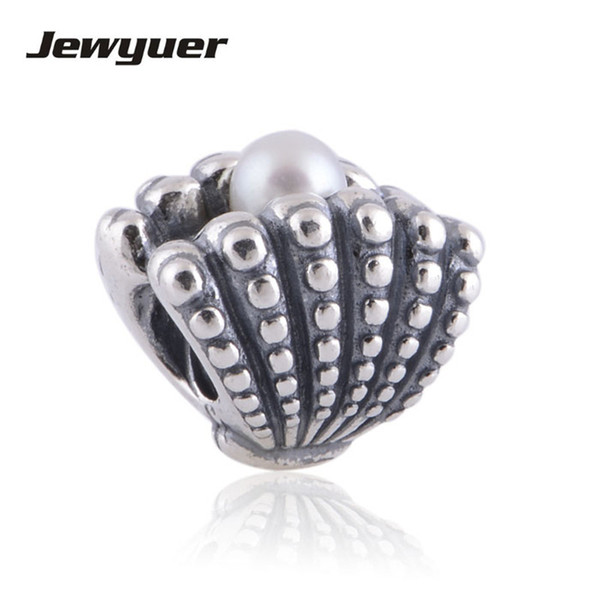 Memnon 925 Sterling Silver Shell with White Pearl Gift Thread Screw Charms Bead, fit charm Bracelet Jewelry DIY Making LW322