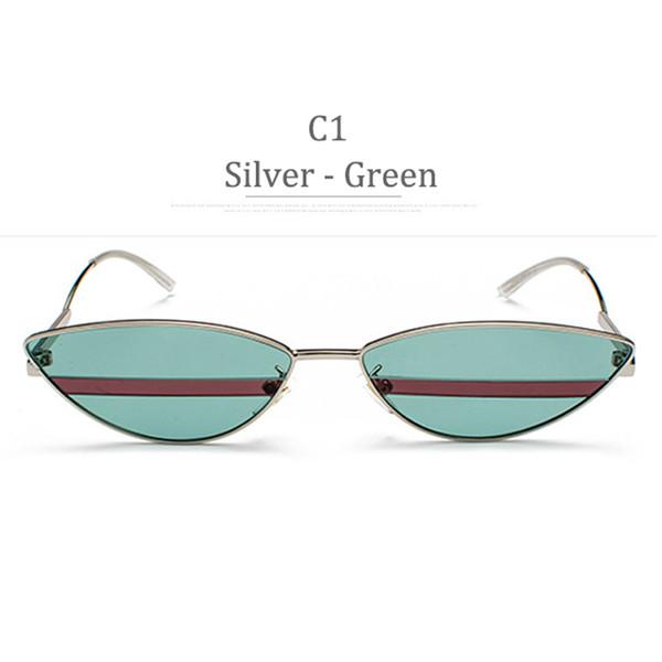 C1 Silver Frame Green Lens