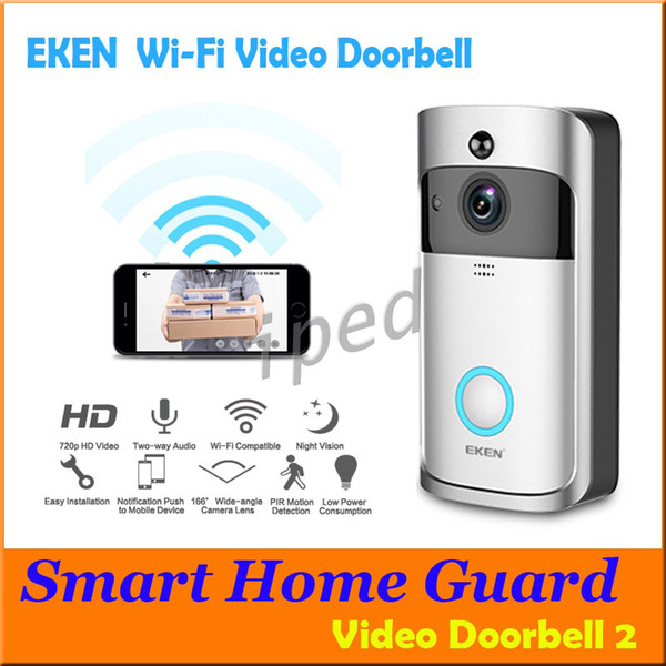 top popular Cheapest EKEN WIFI Doorbell Wireless Video Door Phone 720P HD PIR Intercom IP Camera Two way Audio 166° Wide-angle Camera Lens Security 2021