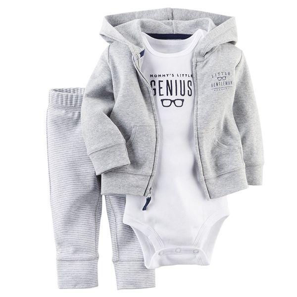 Roupa Dos Meninos Do Bebê Roupa Infantil Menino Roupas tarja hoodies + macacão + calças 3 Pçs / set Bebê Manga Longa Bebê Outono terno menino Conjunto de Roupas